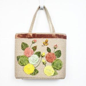Vintage Woven Bag with Velvet Applique Flowers